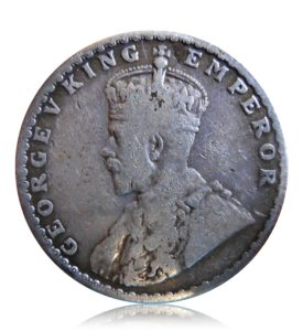 1928 1/2 Rupee Silver Coin King George V Bombay Mint - RARE