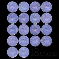 1969 20 Paise Lotus Coin Republic India Bombay Mint - 18 Coins