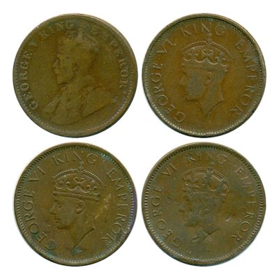 1913 1939 1940  1/4 Quarter Anna British India King George V & VI Calcutta & Bombay mint