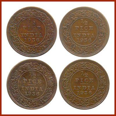 1936 1/2 Half Pice Coin British India King George V Calcutta Mint