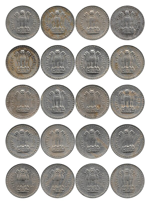 1975 1976 1977 1978 1979 1 Rupee Coin Big Dabu Republic India Bombay Mint - 20 Coins set