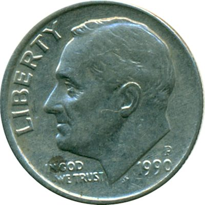 1990 United States of America coin 1 Dime portrait profile Franklin D. Roosevelt - Best Buy