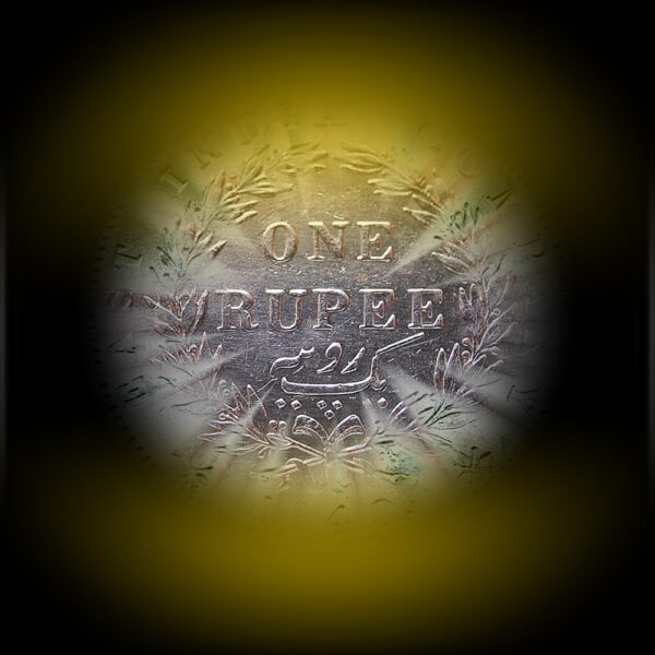 1840 1 Rupee Victoria Queen Continuous Legend 35 Berries Calcutta Mint