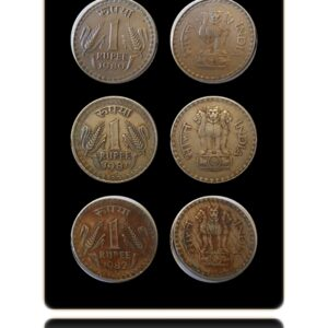 1980 1981 1982 1 Rupee Coin Republic India Bombay Mint - UGET - 3 Coins