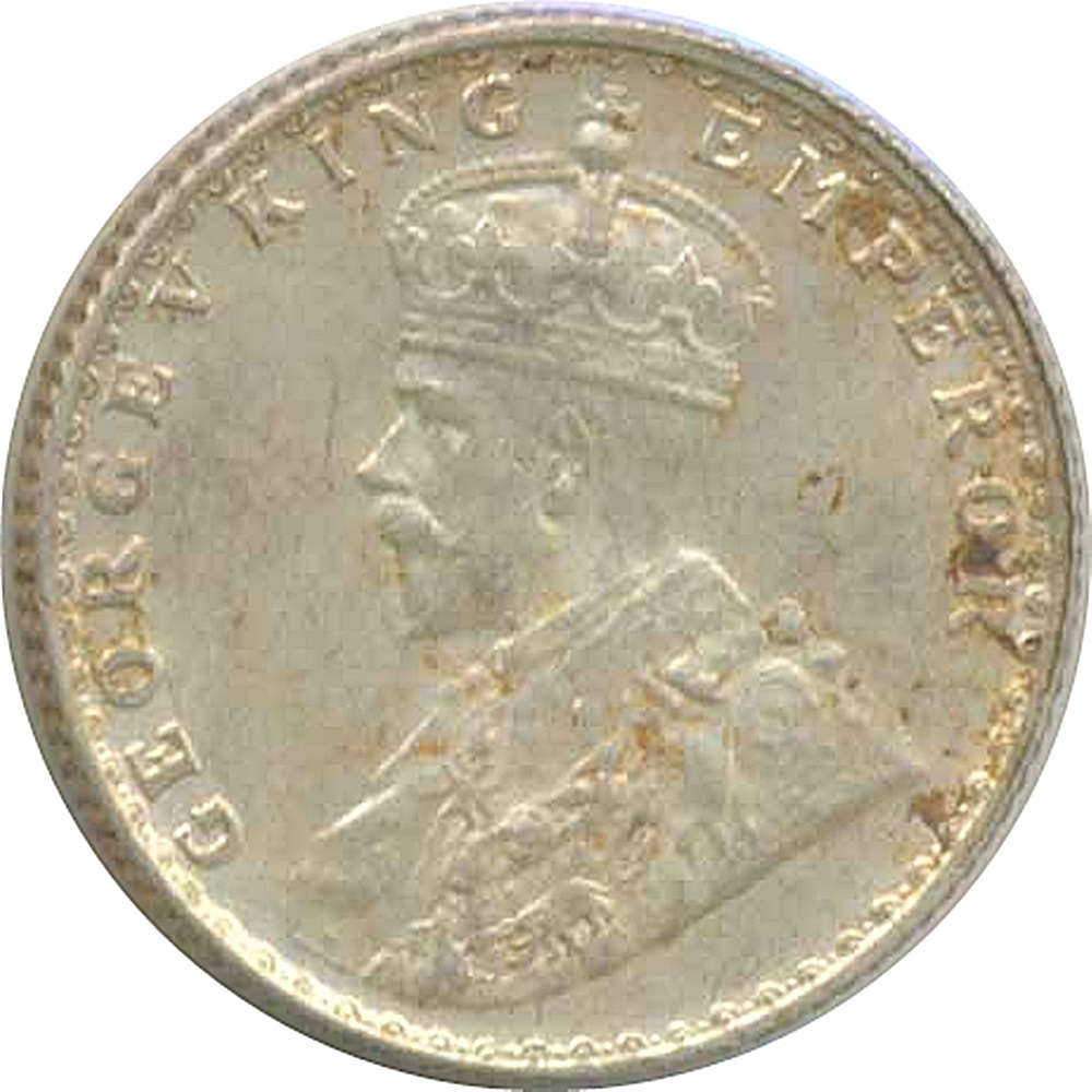 1915  1 Rupee Silver Coin British India King George V Bombay Mint - RARE