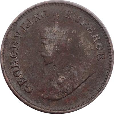 1921 1/2 Half Pice Coin King George V Calcutta Mint - RARE