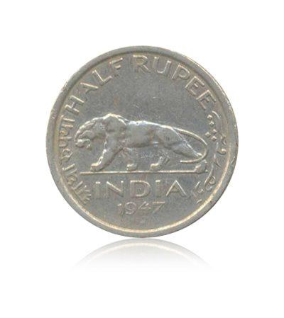 1947 1/2 Half Rupee Coin British IndiaGeorge VI King EmperorBombay Mint - RARE