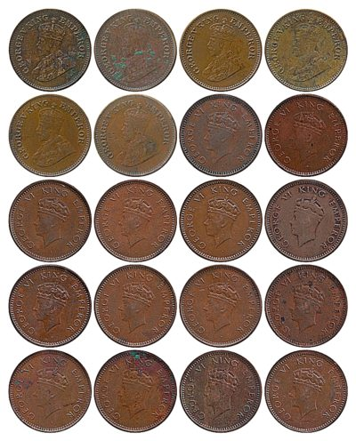 1917 1936 1939 1/2 Half Pice Coin British India King George V & VI Bombay & Calcutta Mint - 20 Coins