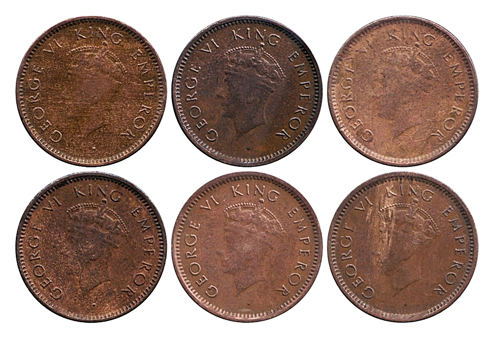 1939  1/12 Twelve Anna Coin British India King George VI Bombay Mint - 6 Coins