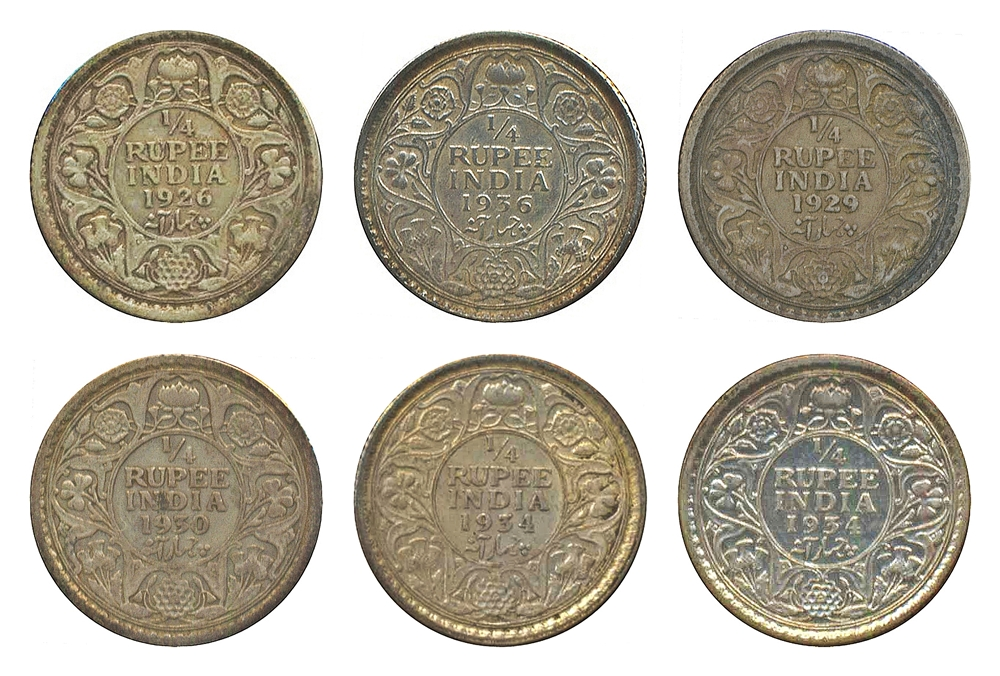 1926 1929 1930 1934 1936 Old Silver Coins 1/4 rupee King George V