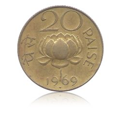 1969 20 Paise Republic India Coin  Bombay Mint