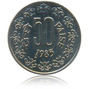 1985 50 Paise Copper Nickel Republic India Coin Korea Mint - Best Buy