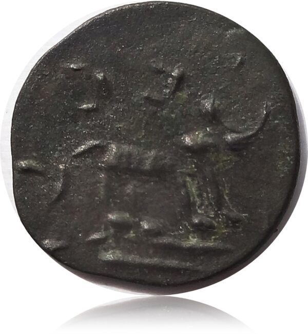 South Indian Rare Potin Coin Kannada Legend - Bull to the Right ,River below