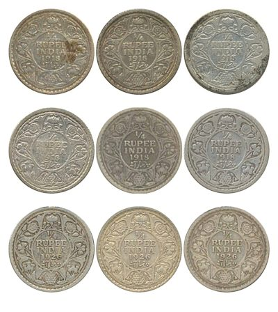 1918 1926 1/4 Quarter Rupee British India King George V Silver Coins Calcutta Mint