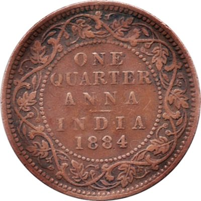 1884 1/4 Anna Queen Victoria empress Calcutta Mint - Worth Buy