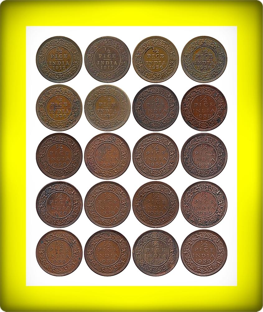 1917 1936 1939 1/2 Half Pice Coin British India King George V & VI Bombay & Calcutta Mint - 20 Coins