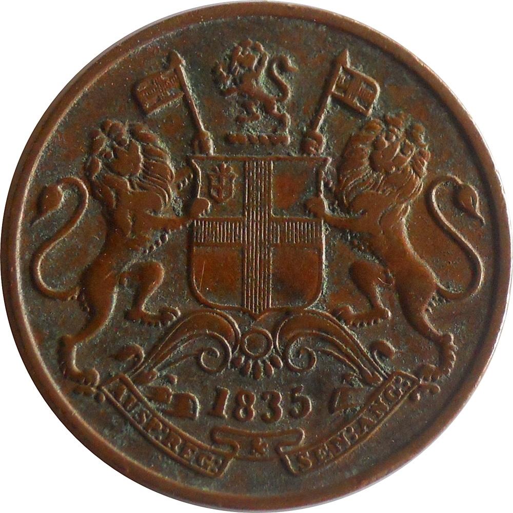 1835 1/4 Quarter Anna East India Company - RARE