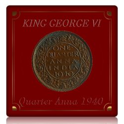 1940  1/4 Quarter Anna British India King George VI Bombay Mint - Best Buy