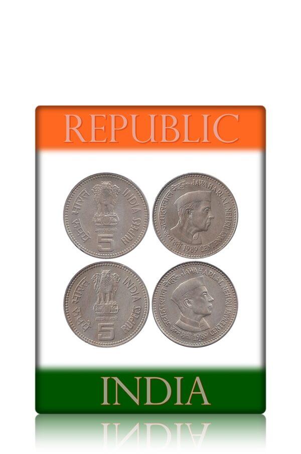 1989 5 Rupee Jawaharlal Nehru Centenary Commemorative Coin Bombay Mint – Best Buy
