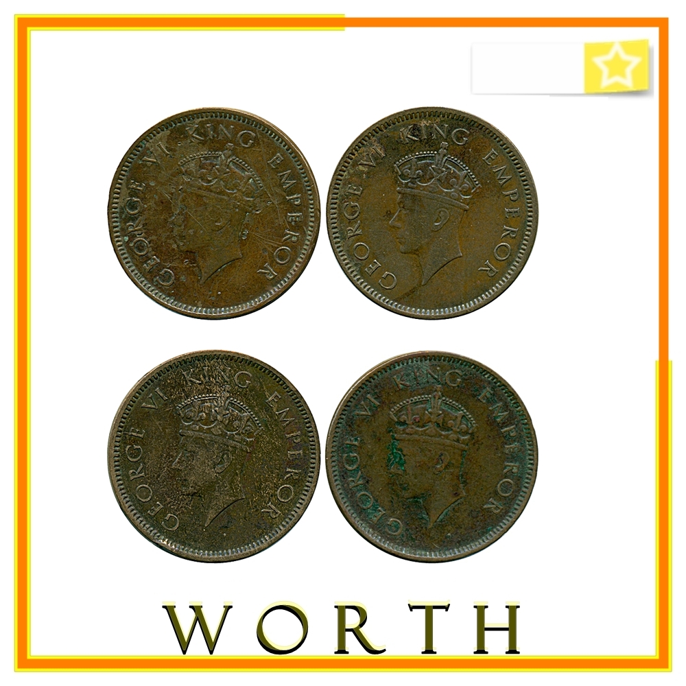 1939 1/4  Quarter Anna King George VI Calcutta & Bombay Mint - 4 COINS