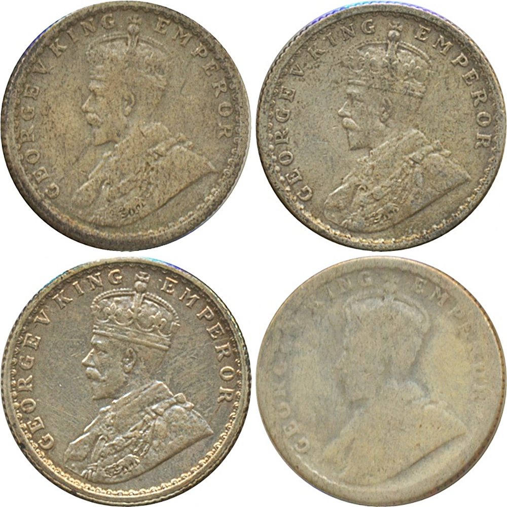 1916 1/4 Quarter Rupee Old Silver Coin British India King George V Calcutta Mint