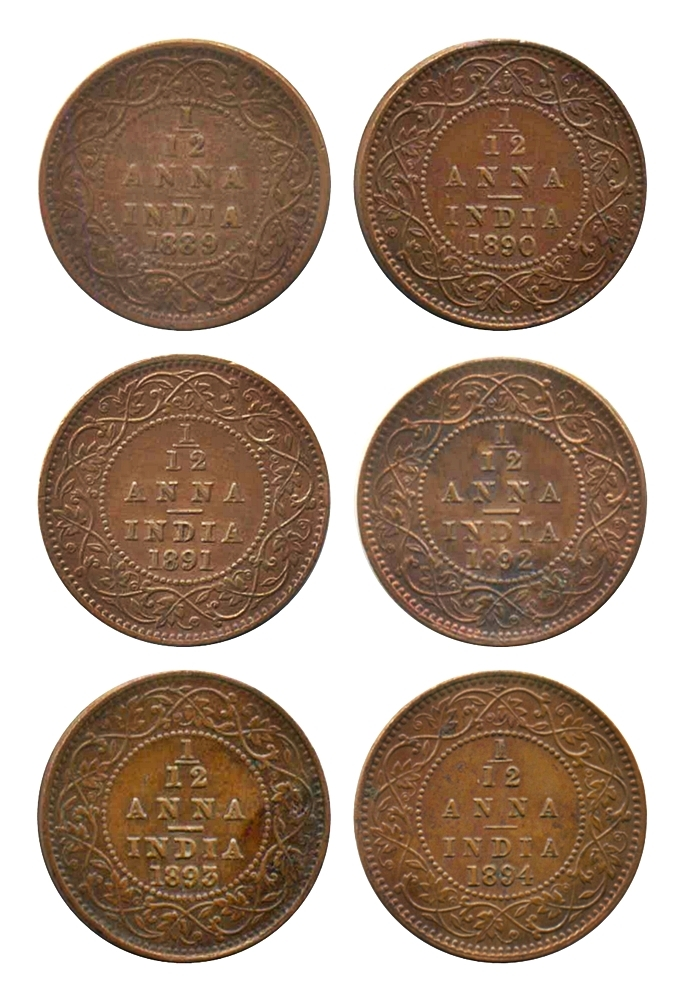 1889 1890 1891 1892 1893 1894  1/12 Twelve Anna British India Queen Victoria Empress Calcutta Mint