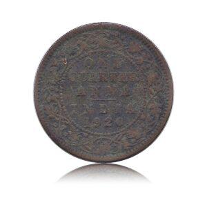 1920 1/4 Quarter Anna George V King & Emperor Calcutta Mint