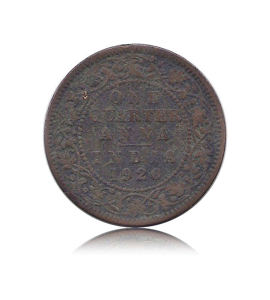 1920 1/4 Quarter Anna George V King & Emperor Calcutta Mint