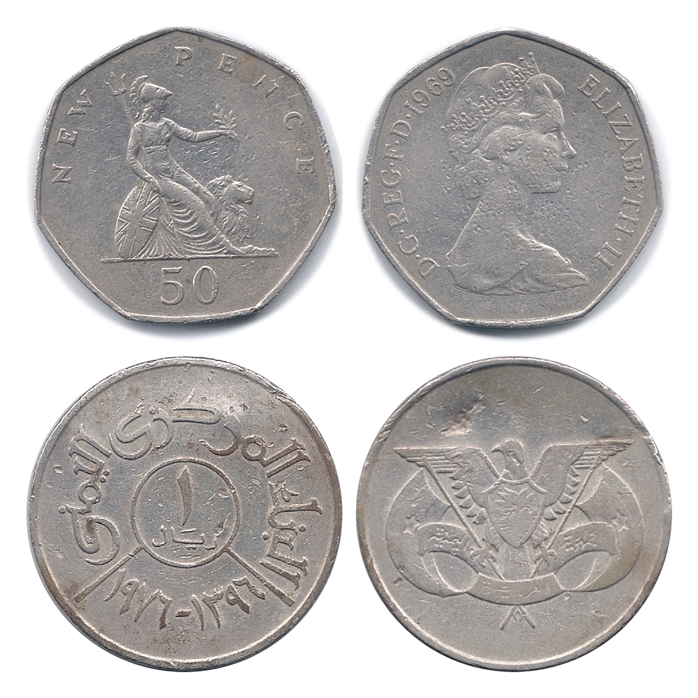 50 New Pence - Elizabeth II & Foreign Coin - 2 Coins