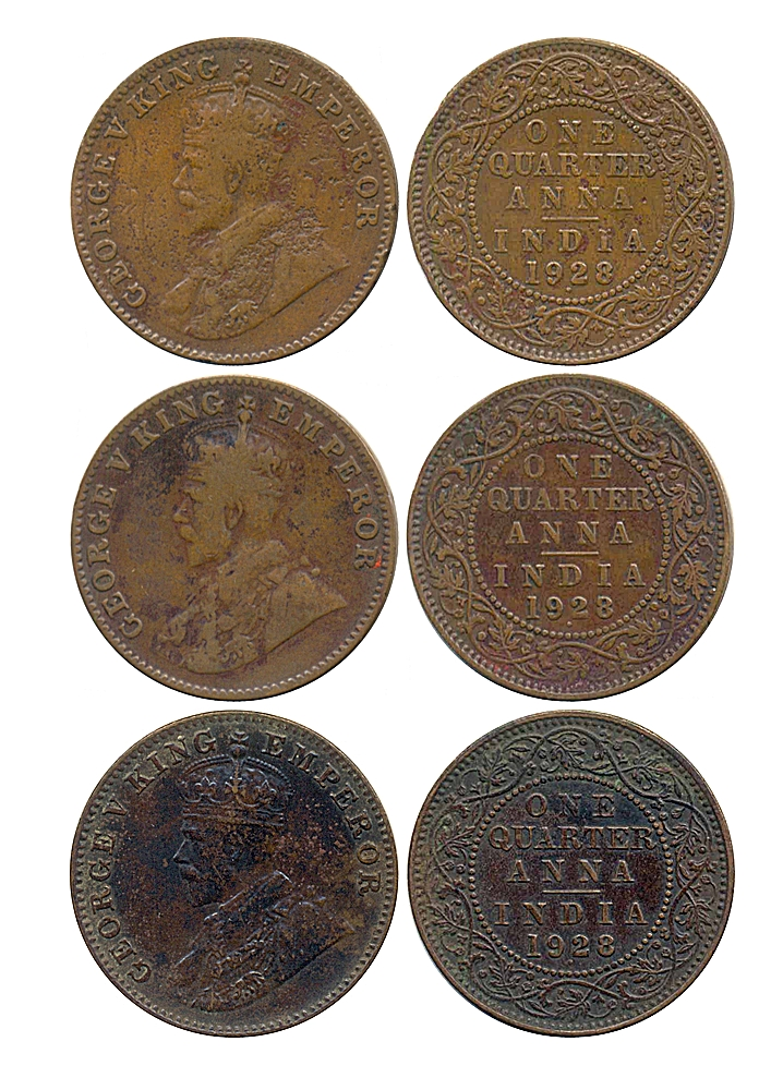 1928 1/4 Anna George V King Emperor Bombay Mint - 3 Coins