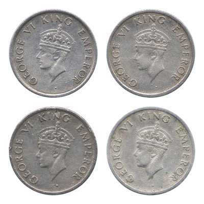 1947  1/4 Quarter Rupee King George VI Bombay Mint - 4 Coins
