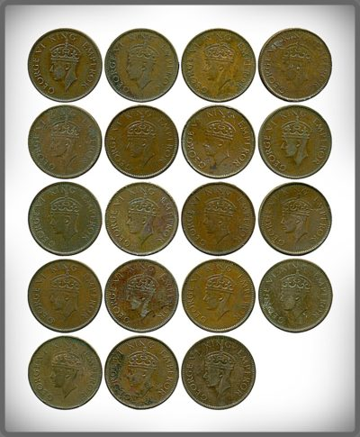 1940 1941  1/4 Quarter Anna British India King George VI Emperor Calcutta & Bombay Mint - 19 Coins