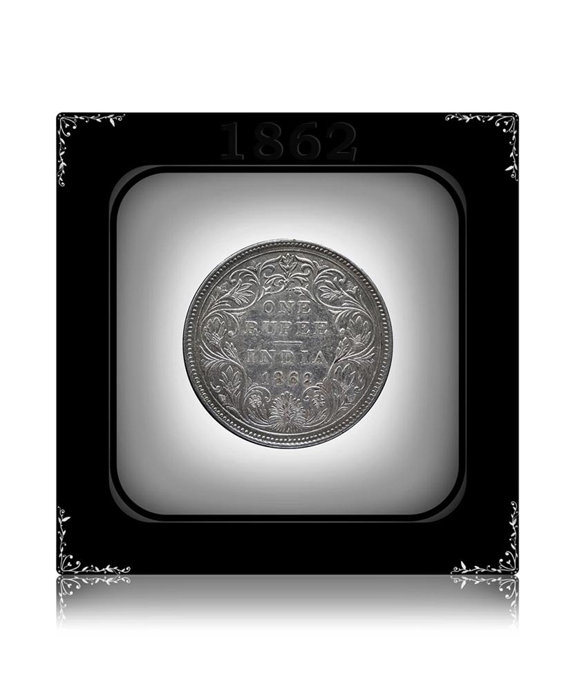 1862 1 Rupee Silver RARE Coin British India Queen Victoria - Worth Buy