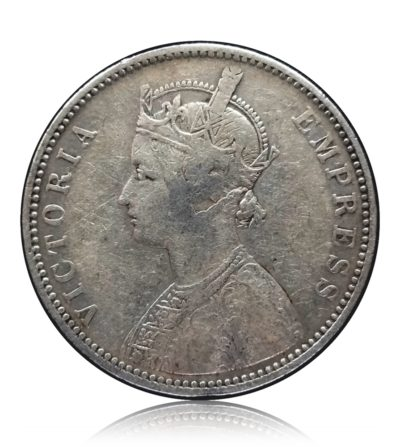 1881  1 Rupee Silver Coin British India Queen Victoria Empress - RARE COIN