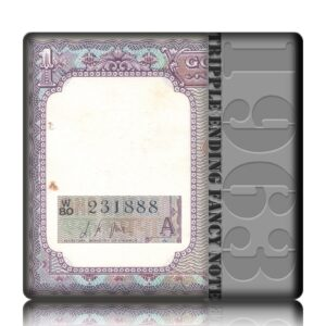 """A-13 1963 1 One Rupee Note 'A' Inset Sign By L.K.JHA Ending Fancy Number """"888"""""""