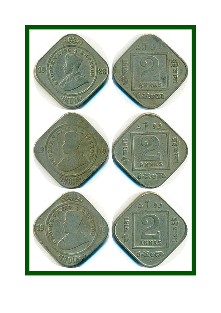1919 1928 2 Annas Coin British India King George V Calcutta Mint - 3 Coins