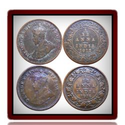 1915 1916  1/12 Twelve Anna British India King George V Calcutta Mint  - 2 Coins