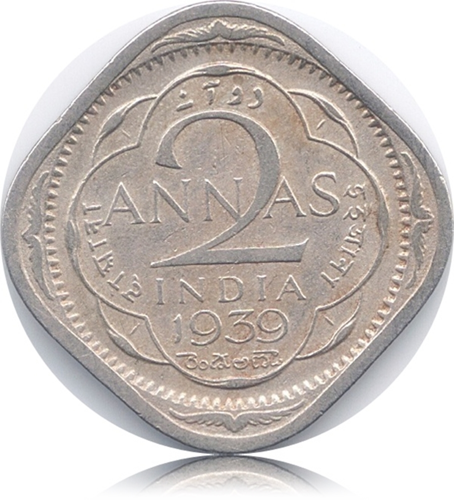 1939 2 Anna Coin British India King George VI Calcutta Mint
