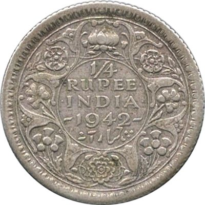1942  1/4 Quarter Rupee King George VI Calcutta Mint - Best Buy