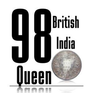 1898 1 Rupee Silver Coin British India Queen Victoria Empress Bombay Mint - RARE COIN