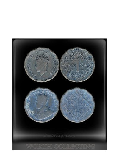 1935 1939 1 Anna Coin King George V & VI Calcutta & Bombay Mint - 2 Coins