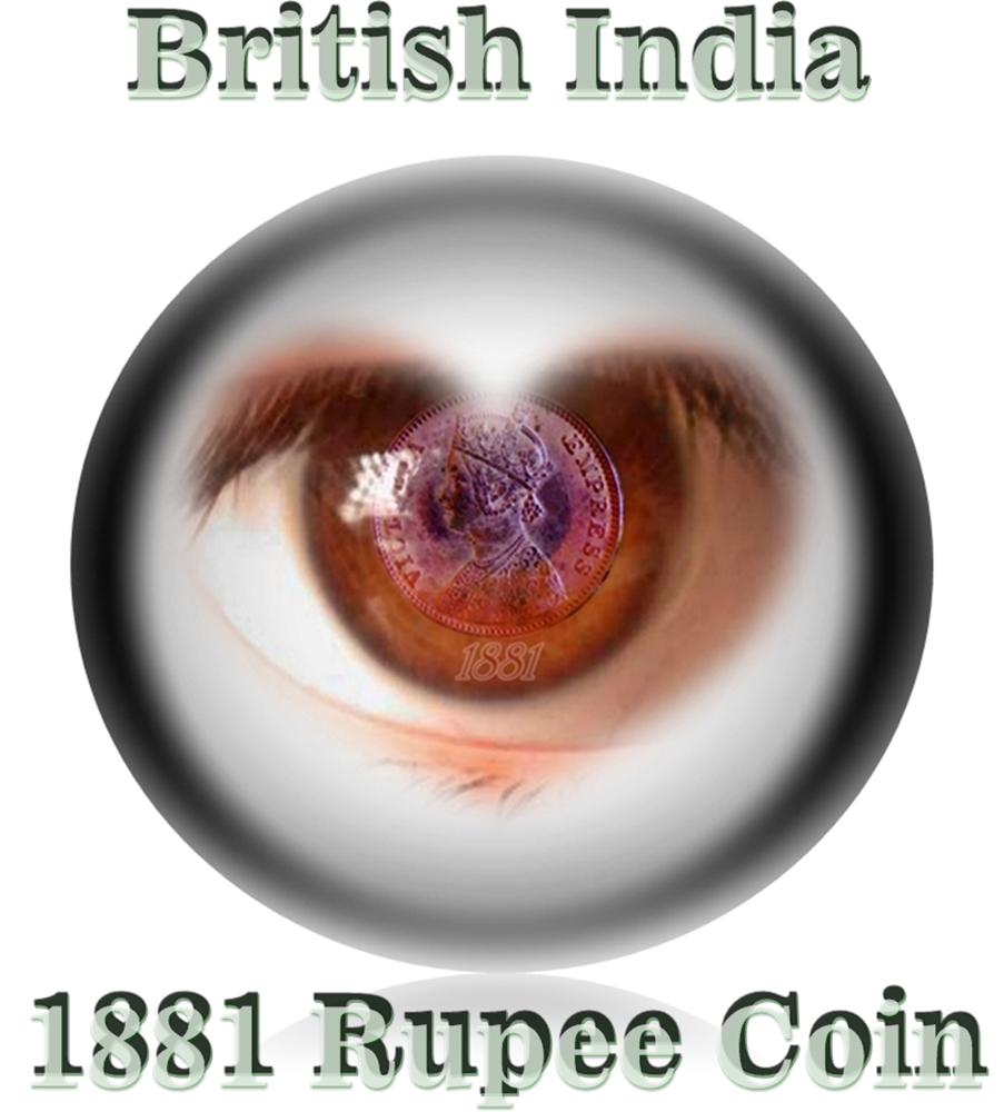 1881 1 Rupee Silver Coin British India Queen Victoria Empress - RARE COIN