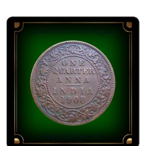 1908 1/4 One Quarter Anna British India King Edward VII Calcutta Mint