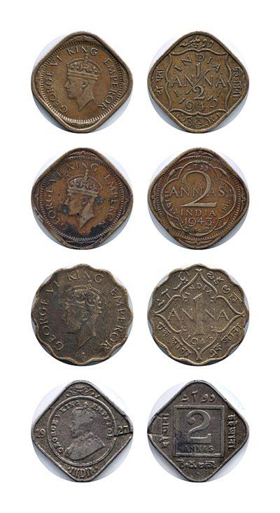 1927 1943 1/2 Anna 1 Anna 2 Annas British India King George V & VI - 4 Coins