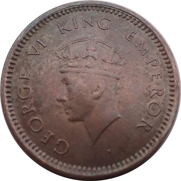 1939 1/2 Pice British India King George VI Bombay Mint