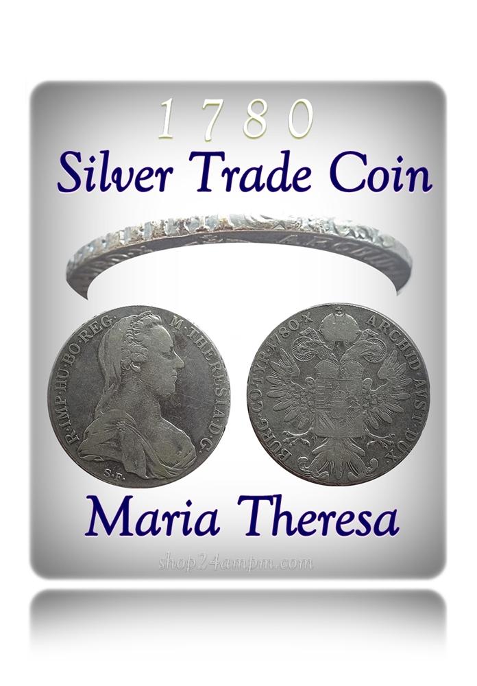 1780 1 Queen Thaler Maria Theresia Austria – Trade Coin Silver Coin - RARE