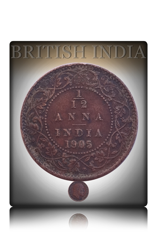 1905 1/12 Twelve Anna British India King Edward VII Calcutta Mint - Best Buy