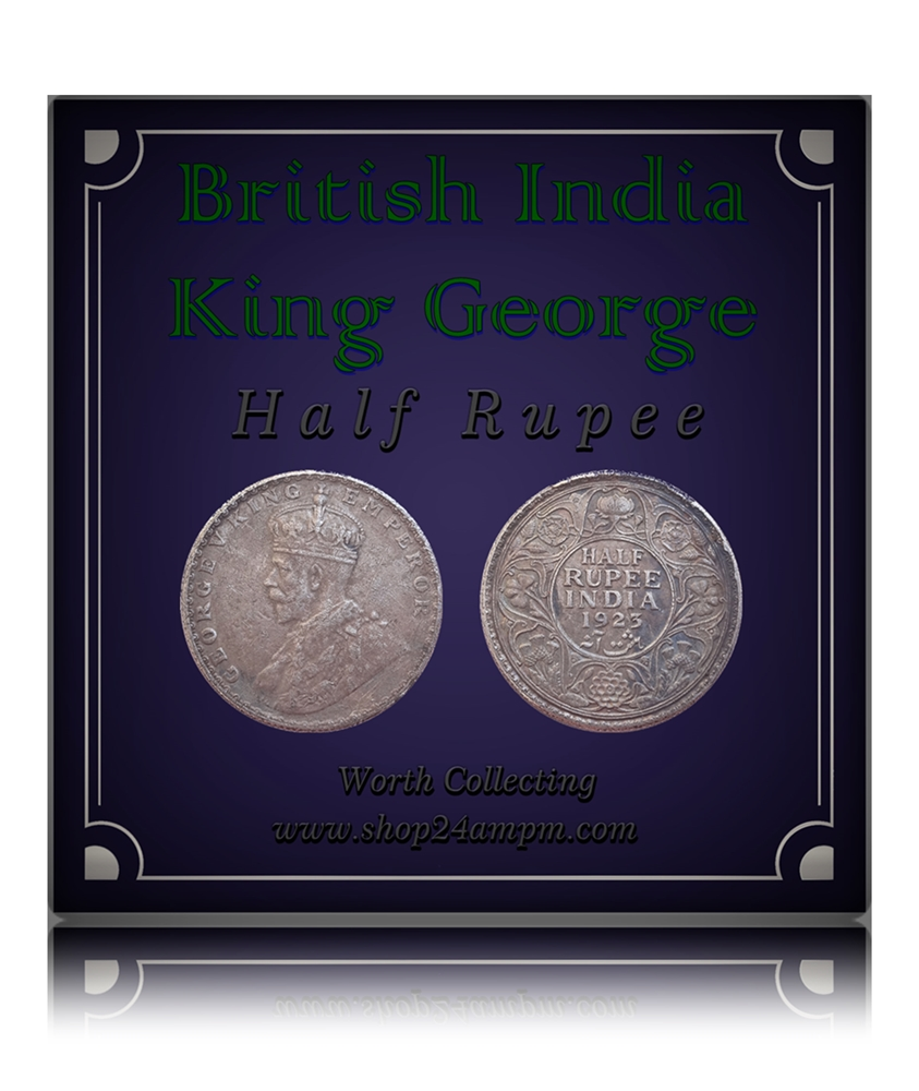1923  1/2 Half Rupee Silver Coin British India King George V Bombay Mint - RARE