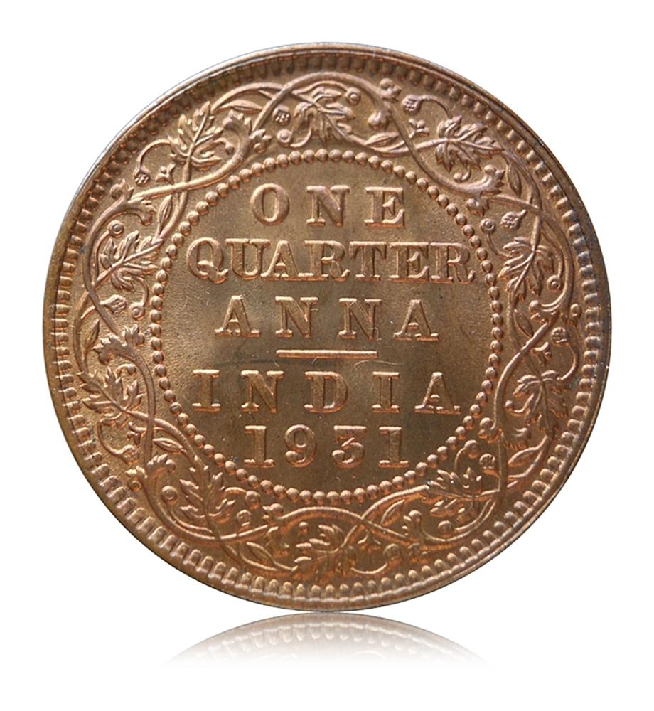 1931 1/4 Quarter Anna - British India King George V -AUNC - Best Rare Index Coin