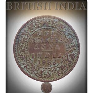 1935 1/4 Quarter Anna British India King George V Calcutta Mint - Best Buy
